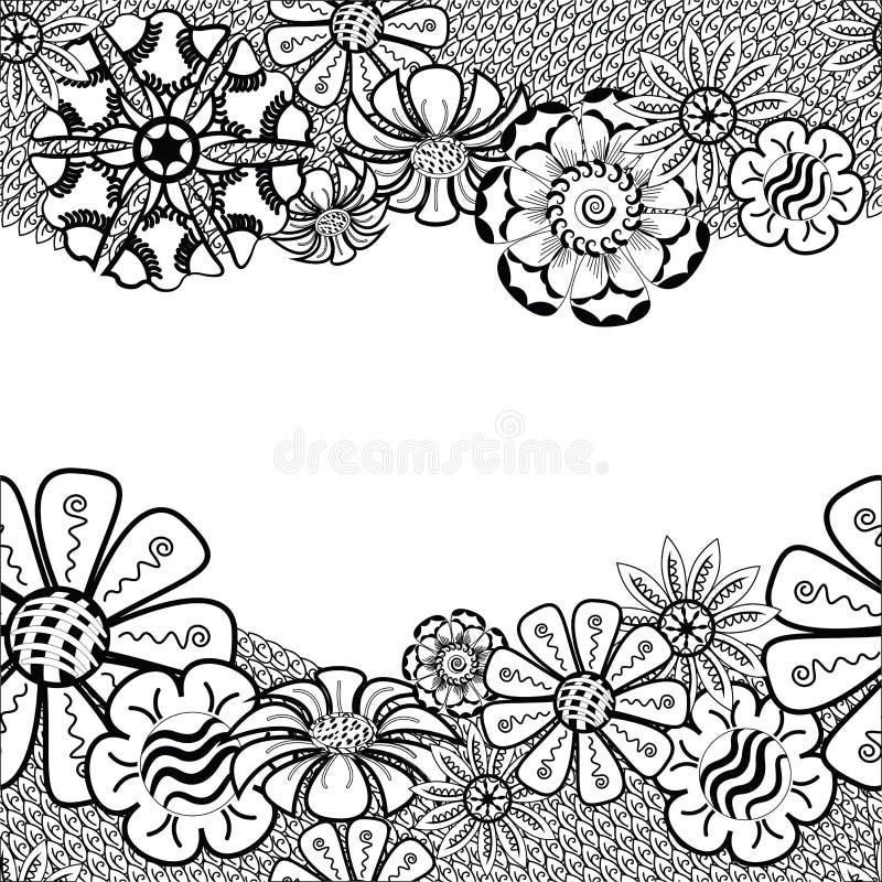 与花的Zentangle框架在乱画 拉长的现有量 皇族释放例证