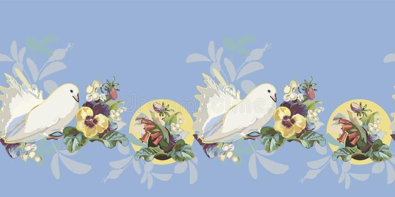 与花花束和鸟的蓝色边界 向量例证
