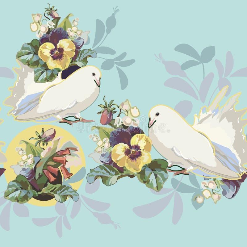 与花花束和鸟的蓝色边界 库存例证