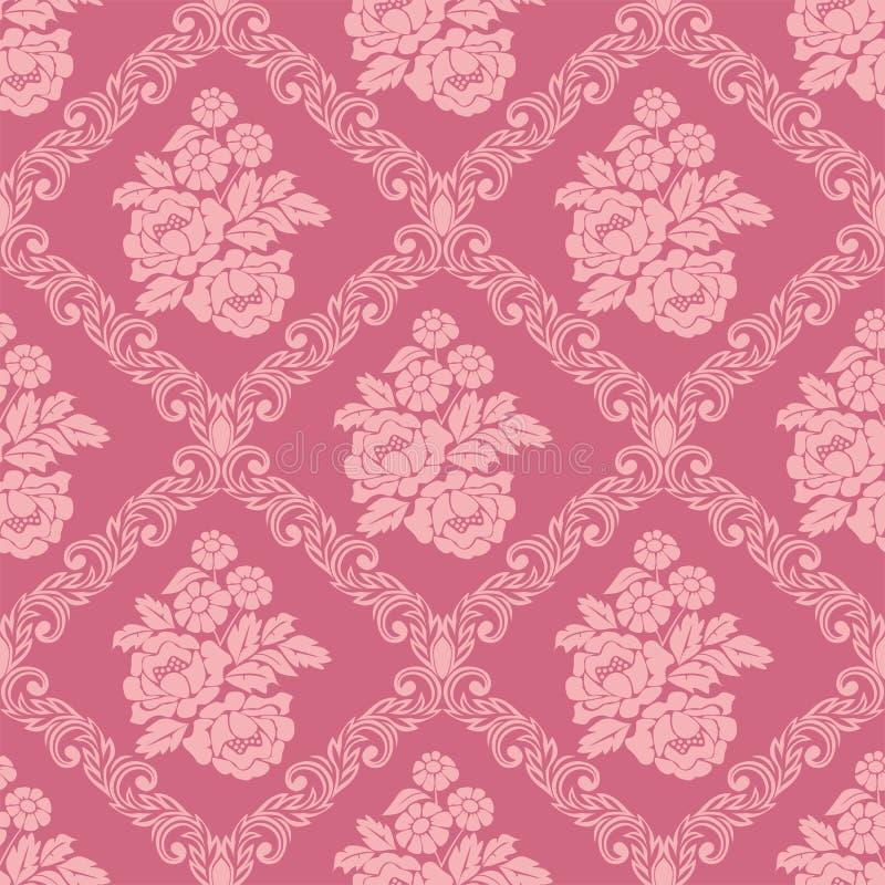 与花花束的无缝的桃红色锦缎墙纸设计的 库存例证