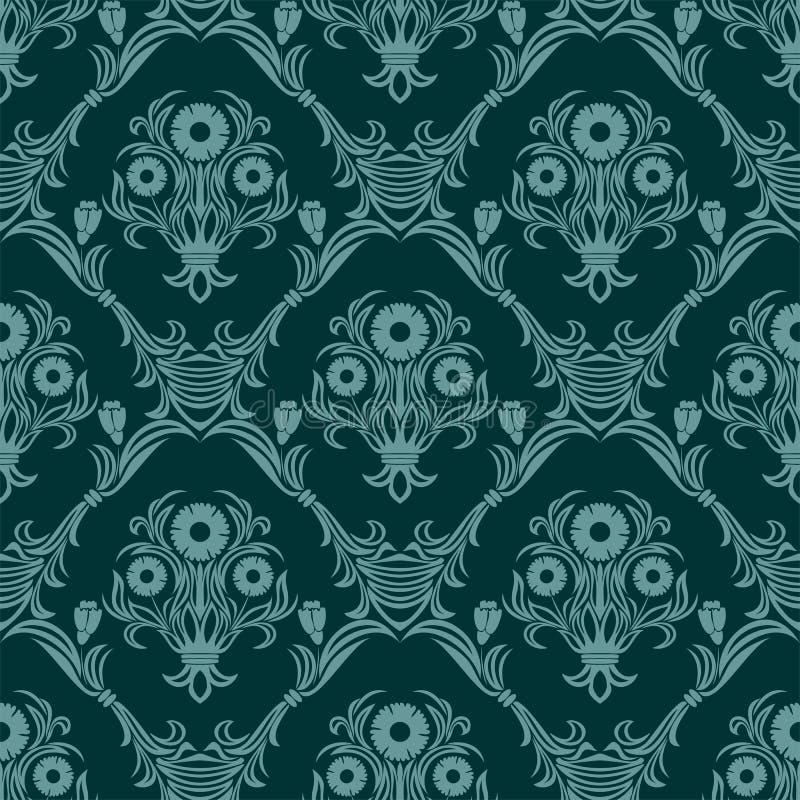 与花花束的无缝的绿松石锦缎墙纸  向量例证