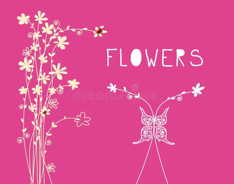 与花装饰品和蝴蝶的花卉背景 传染媒介春天花设计例证 皇族释放例证
