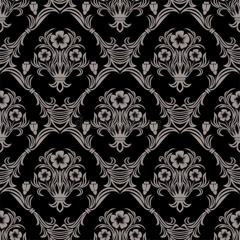 与花装饰品的无缝的锦缎墙纸 向量例证