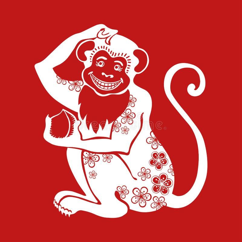 与花装饰品的猴子中国黄道带标志 皇族释放例证