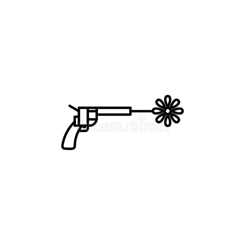 与花象的左轮手枪 和平象的元素流动概念和网apps的 与花象的稀薄的线左轮手枪可以是u 库存例证
