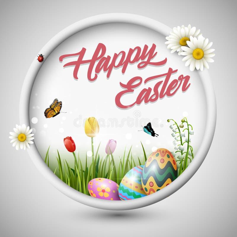 与花郁金香和蝴蝶的愉快的复活节彩蛋在圈子构筑背景 向量例证