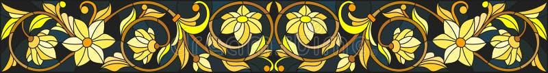 与花饰、仿制金子在黑暗的背景与漩涡和花卉主题的彩色玻璃例证 向量例证