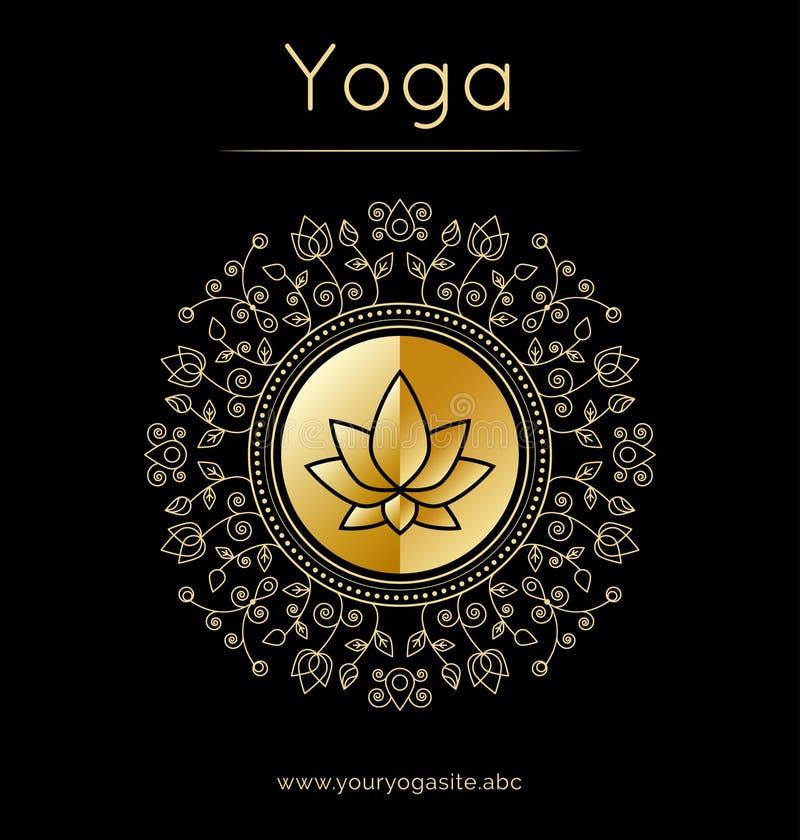 与花饰和莲花剪影的瑜伽海报 金黄纹理 皇族释放例证