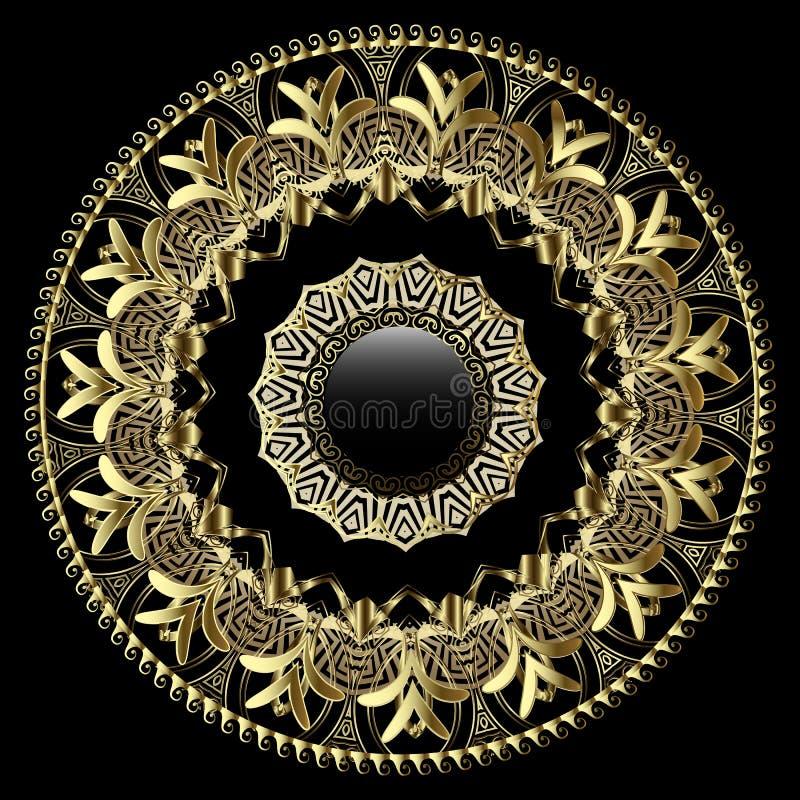 与花饰的华丽金子3d希腊传染媒介坛场样式 古色古香的样式金黄花,叶子 古希腊钥匙, 皇族释放例证