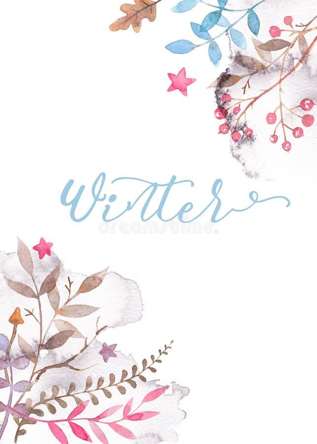 与花饰的手拉的水彩贺卡模板 库存例证