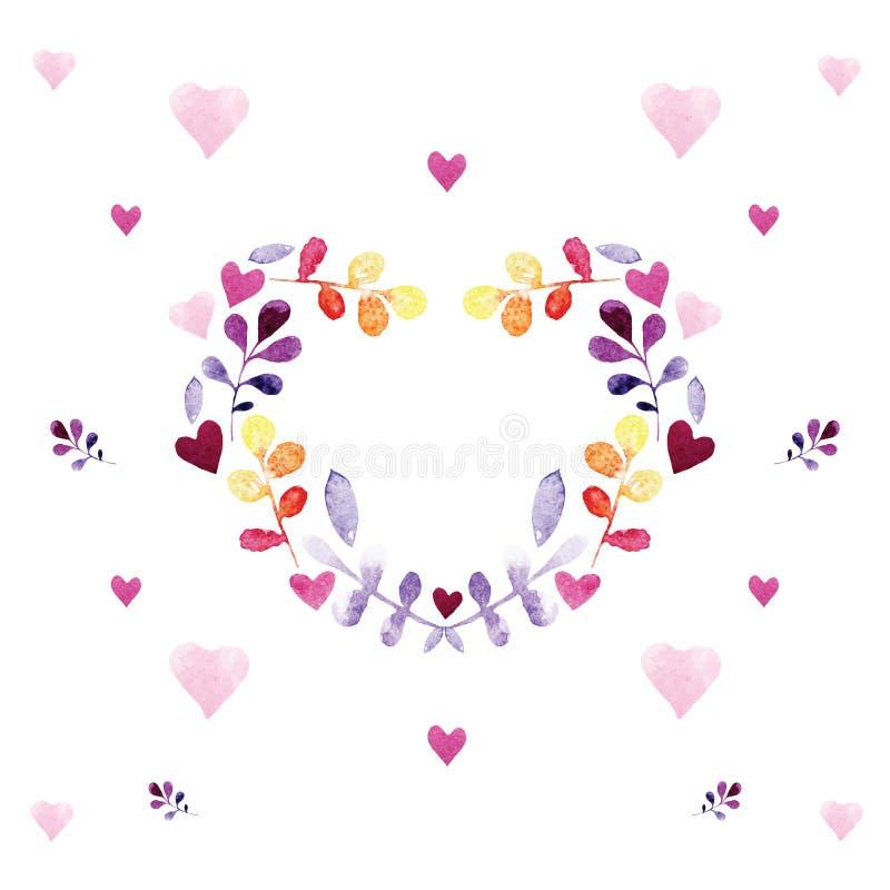 与花饰的浪漫水彩卡片 向量例证