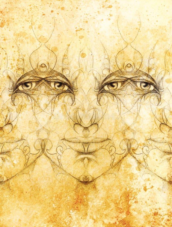 Download 与花饰的神秘的人面孔 画在纸,颜色作用 目光接触 库存例证. 插画 包括有 自我, 火焰, 幻想, 概念 - 72351469