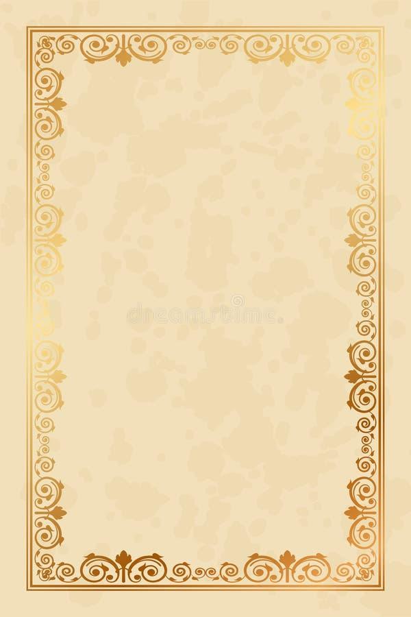 与花饰的羊皮纸背景 库存例证