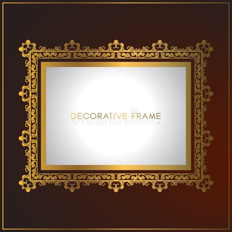 与花饰的豪华金黄框架设计 装饰金框架和边界 库存例证