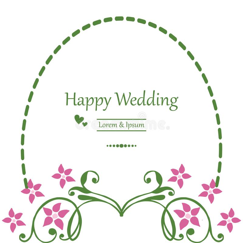 与花饰,样式典雅的框架,在上写字的请帖愉快的婚礼 ?? 向量例证