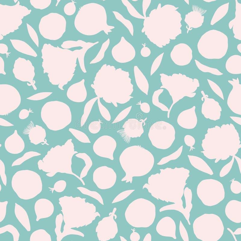 与花,叶子,无花果果子,石榴,莓果,朝鲜蓟silouettes的传染媒介无缝的样式背景  向量例证