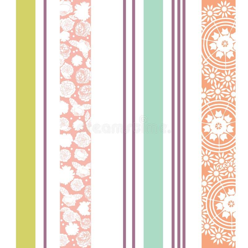 与花,在五颜六色的淡色的小垫布的典雅的无缝的垂直条纹样式 库存例证