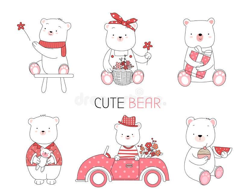与花,汽车,动画片手拉的样式的可爱宝贝动物,打印的,卡片,T恤杉,横幅,产品 ?? 库存例证