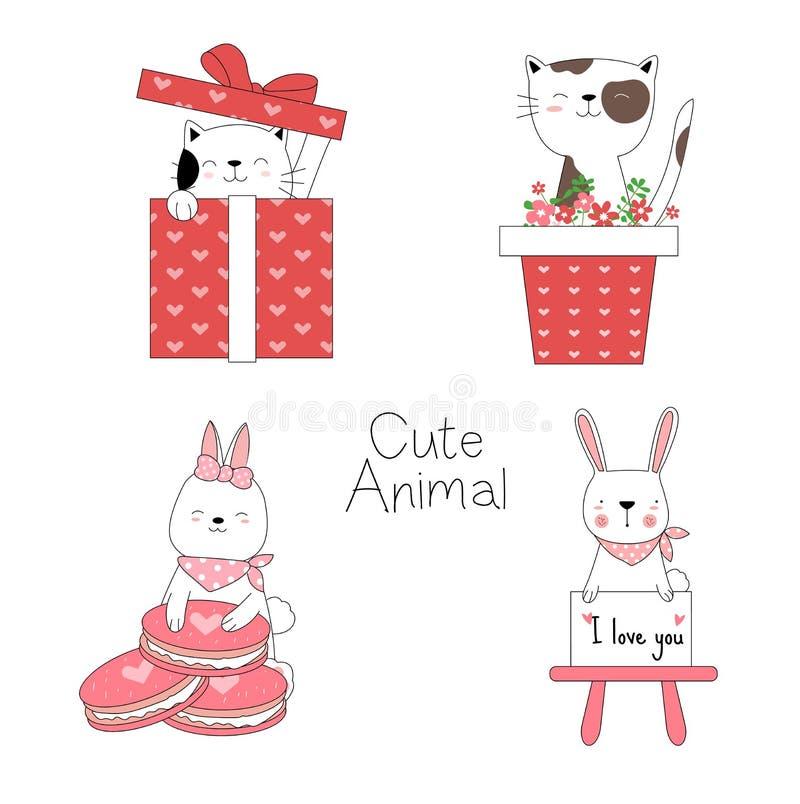 与花,礼物盒,动画片手拉的样式的可爱宝贝动物,打印的,卡片,T恤杉,横幅,产品 ?? 向量例证