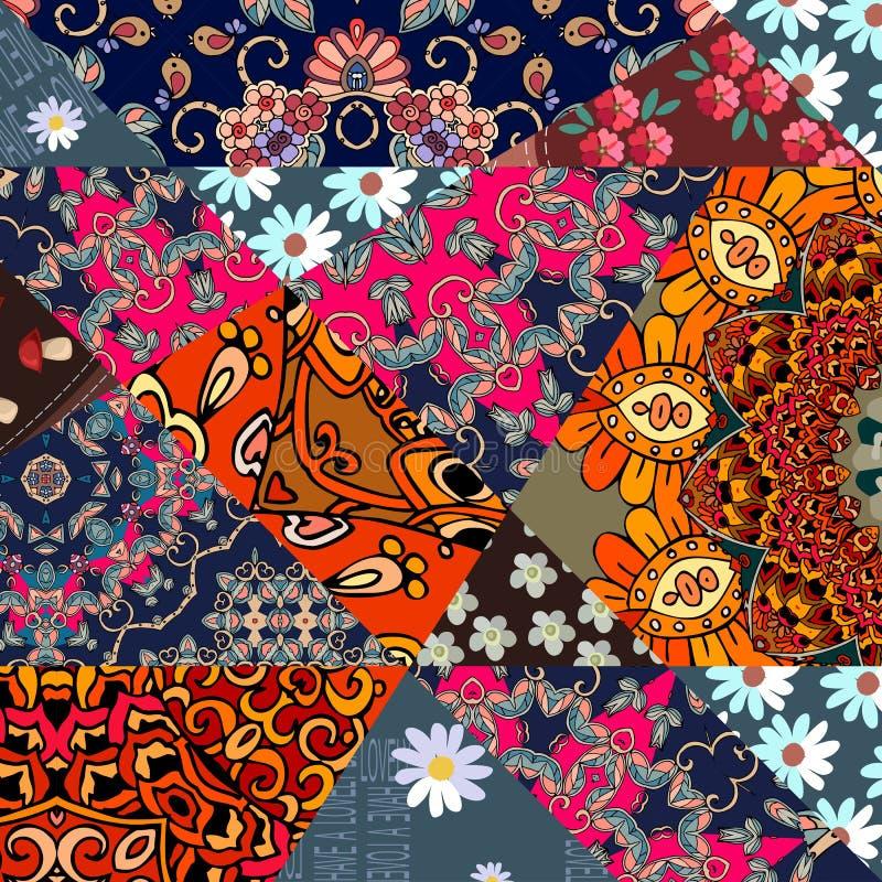 与花-坛场和抽象网眼图案的美好的补缀品样式 库存例证