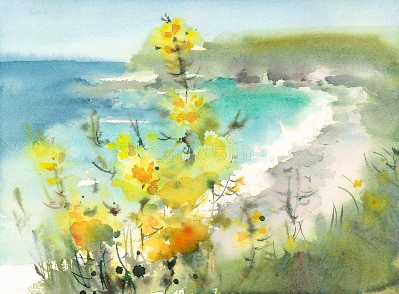 与花水彩手画自然的例证的海景 向量例证