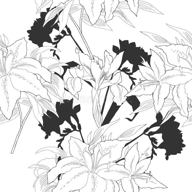 与花06的黑白无缝的样式 库存例证