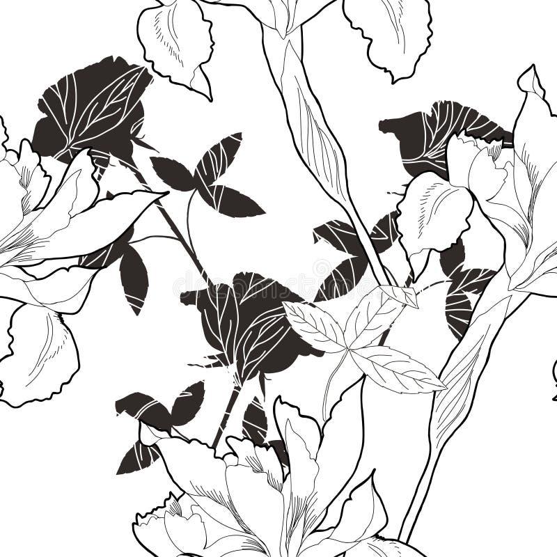 与花10的黑白无缝的样式 库存例证