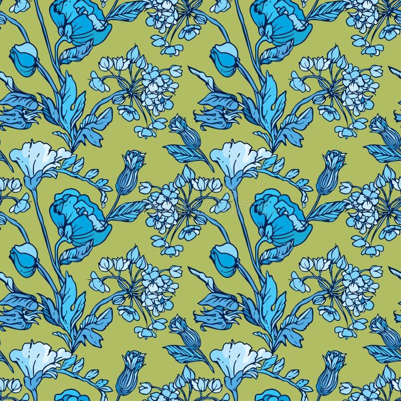 与花-鸦片和香豌豆花的无缝的样式在蓝色colo 皇族释放例证