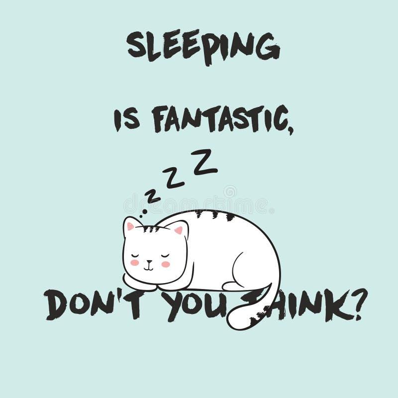 与芳香树脂kawaii睡觉猫的逗人喜爱的传染媒介例证 在上写字睡觉是意想不到的,您不认为 皇族释放例证