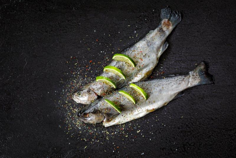 与芳香草本、香料、盐和石灰切片的生鱼 免版税库存图片