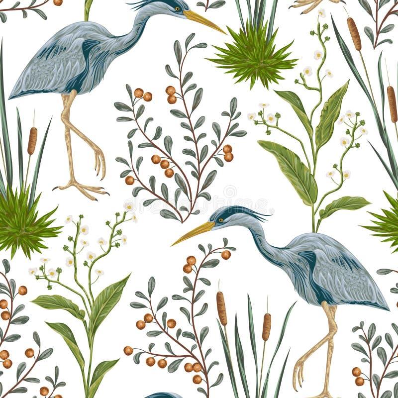与苍鹭鸟和沼泽植物的无缝的样式 库存例证
