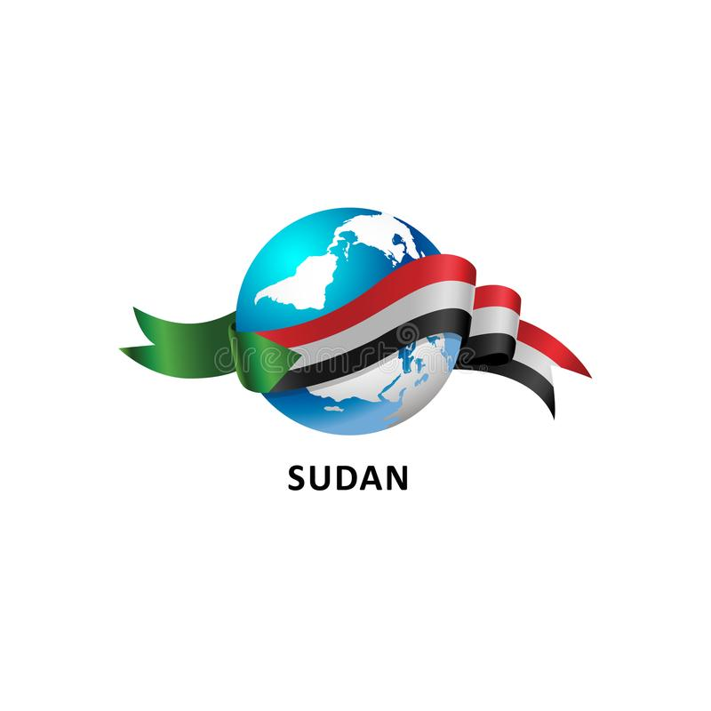 与苏丹旗子的世界 图库摄影