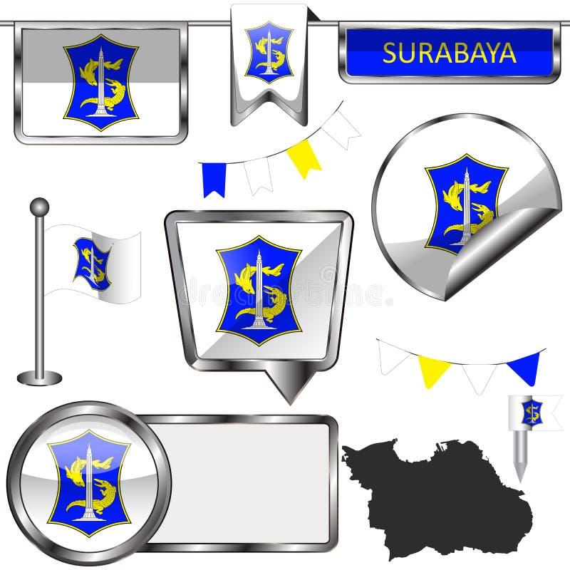 与苏拉巴亚,印度尼西亚旗子的光滑的象  皇族释放例证