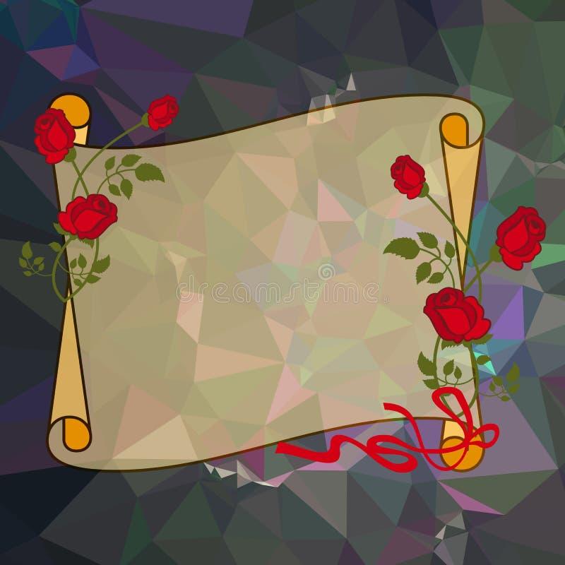 与英国兰开斯特家族族徽的纸纸卷在方形的马赛克背景 皇族释放例证