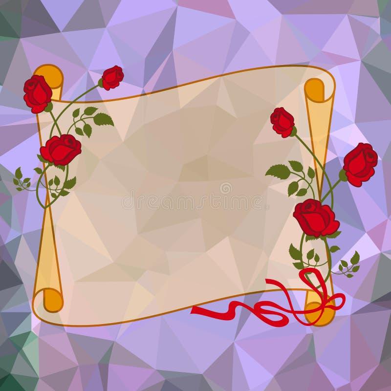 与英国兰开斯特家族族徽的纸纸卷在方形的马赛克背景 库存例证