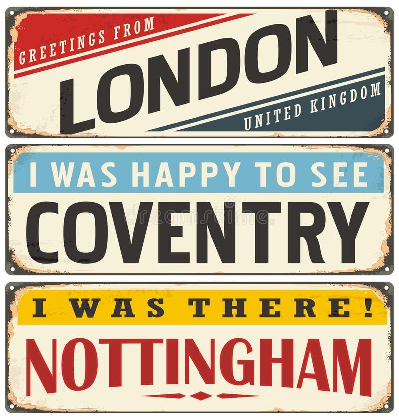 与英国城市名字的减速火箭的罐子标志收藏 皇族释放例证