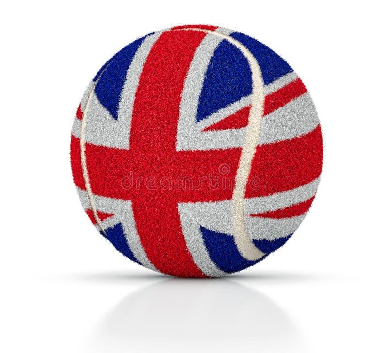 与英国的旗子的纹理的网球,英国的网球,3D例证 向量例证