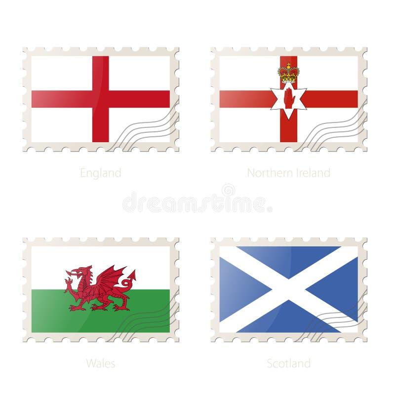 与英国,北爱尔兰,威尔士,苏格兰的图象的邮票旗子 皇族释放例证