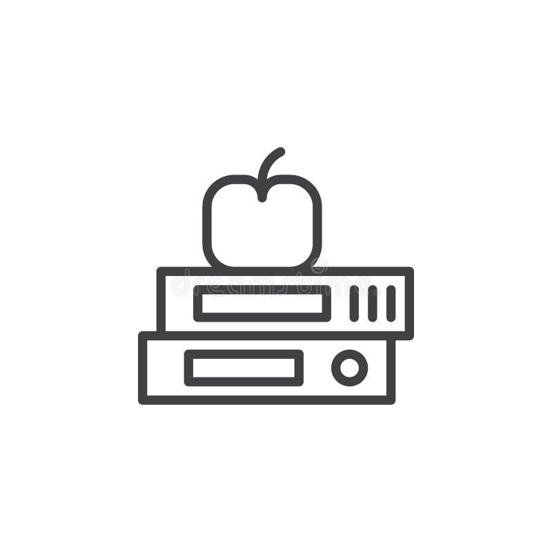 与苹果概述象的课本 库存例证