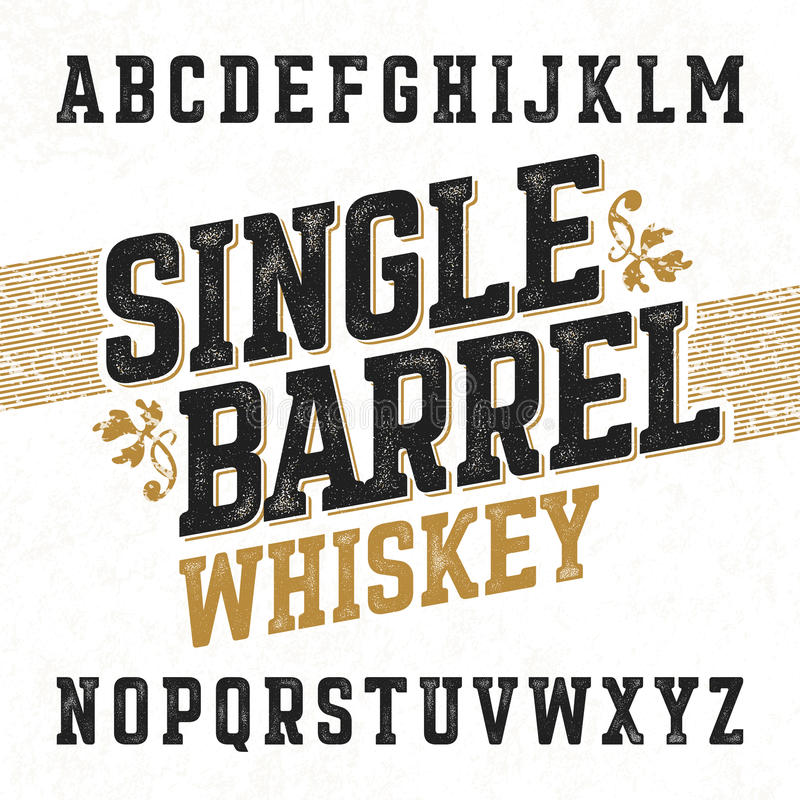 与范例设计的唯一桶威士忌酒标签字体 皇族释放例证