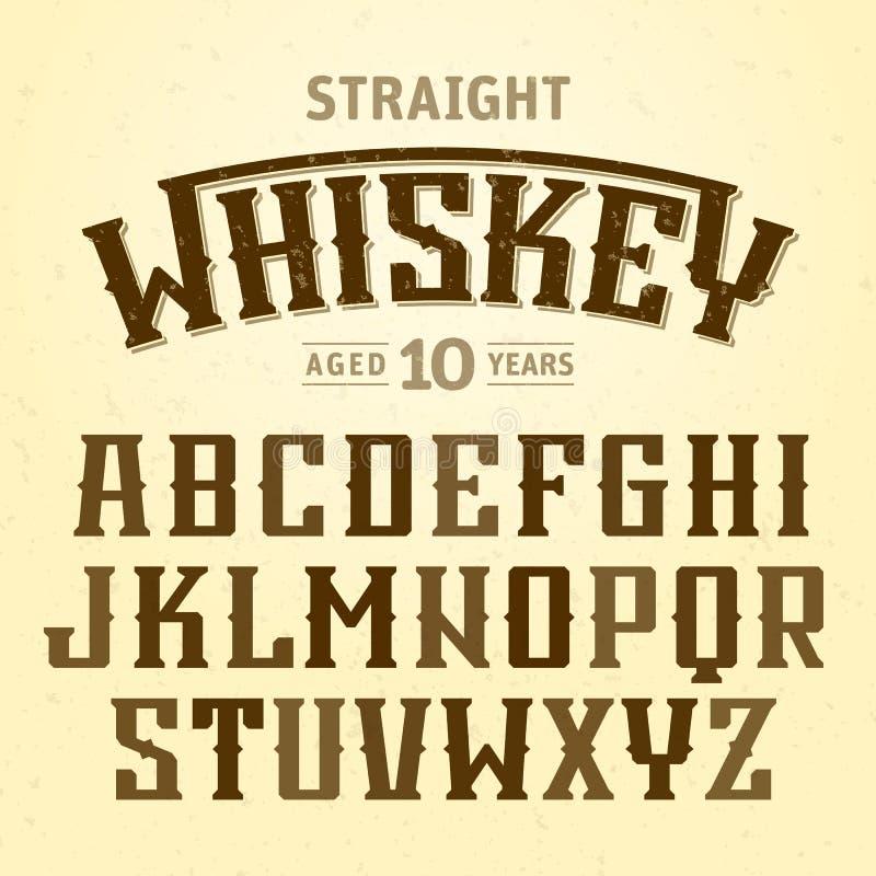 与范例设计的平直的威士忌酒标签字体 库存例证