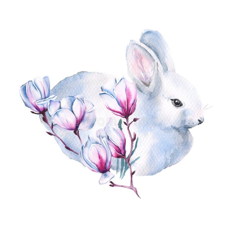与茉莉花分支的复活节兔子  背景查出的白色 额嘴装饰飞行例证图象其纸部分燕子水彩 皇族释放例证