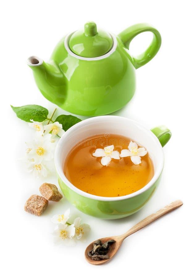 与茉莉花的绿茶 免版税图库摄影