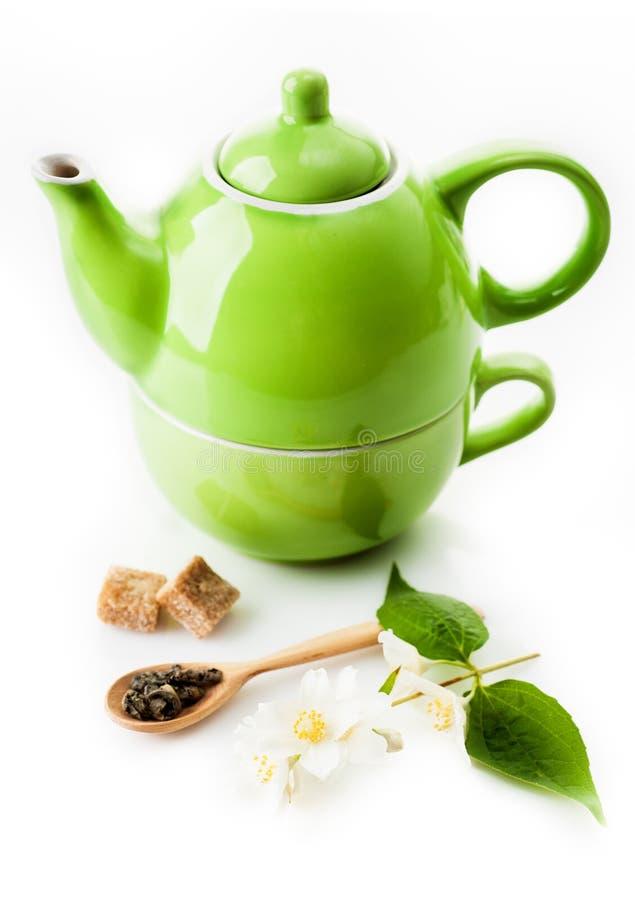 与茉莉花的绿茶 库存照片