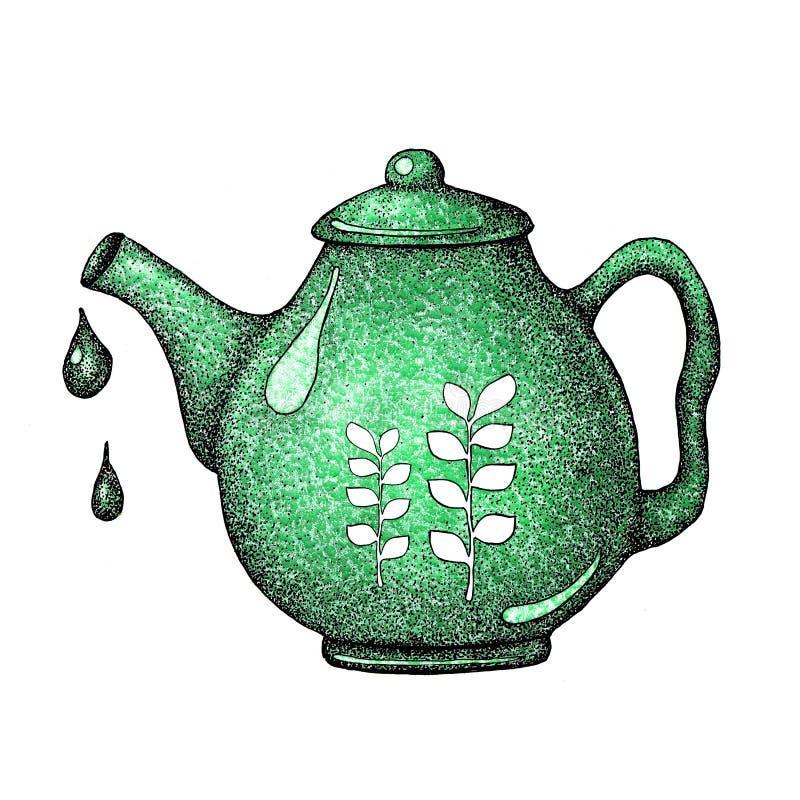 与茶元素的手拉的集合 水壶,横幅的设计的茶壶,印刷品,标签,菜单海报咖啡馆 库存例证