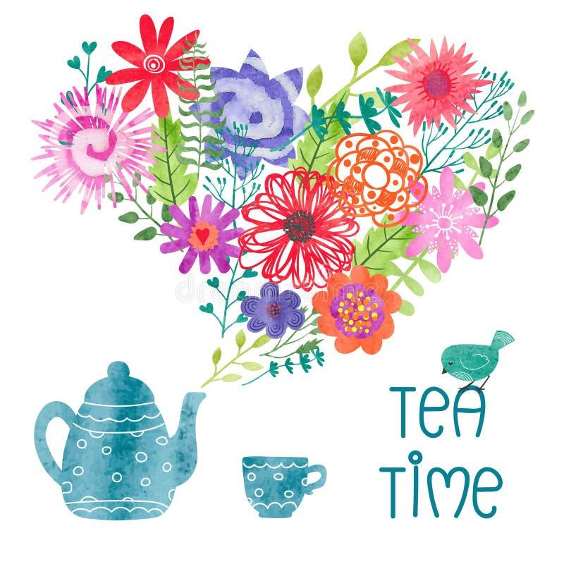 与茶壶、杯子和蒸汽的水彩茶时间五颜六色的传染媒介例证作为花 向量例证