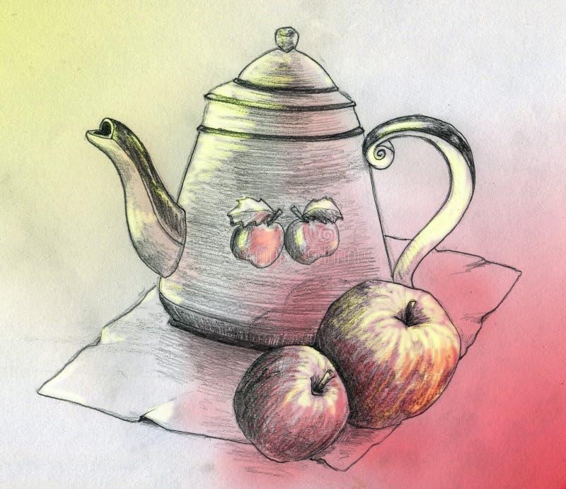 与茶壶和二个苹果的静物画 皇族释放例证