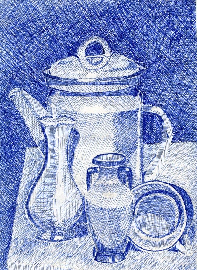与茶壶的图片 免版税库存照片