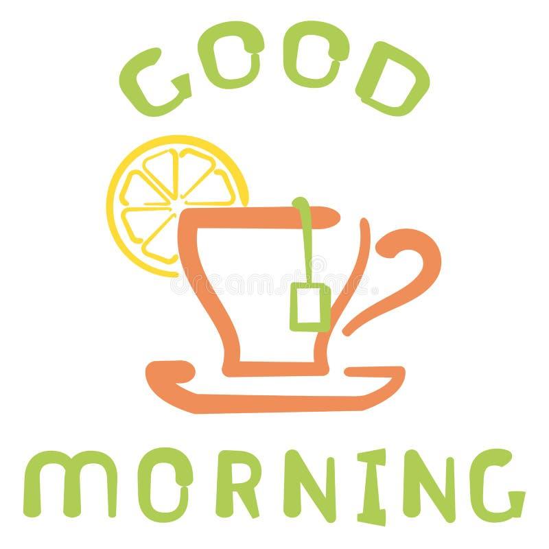 与茶杯和在早晨好上写字的早餐卡片 库存照片
