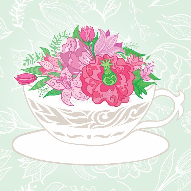 与茶杯的创造性的例证有很多花 库存例证